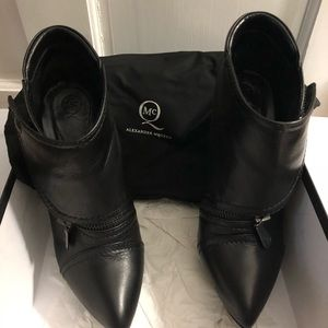 Alexander McQueen black leather biker booties